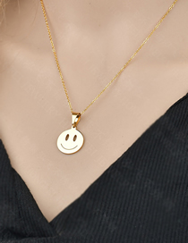 Fashion Smile Gold Cartoon Emoticon Package Clavicle Chain