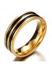 Fashion Black 18k Gold Double Row Drop Ring