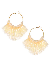 Fashion White Alloy Circle Tassel Earrings