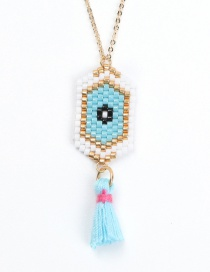 Fashion Blue Tassel Eye Woven Necklace