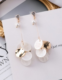 Fashion Gold Natural Shell Thin Round Pearl Beaded Earrings