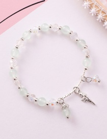Fashion Light Green Beads Single Circle Conch Crystal Plated Gold Bracelet