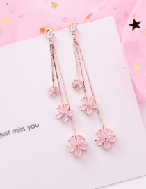 Fashion Pink 925 Silver Needle Zircon Flower Tassel Earrings