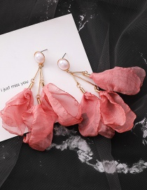 Fashion Red (buttons) Transparent Mesh Multi-layer Flower Earrings