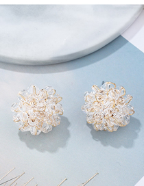 Fashion White Transparent Crystal Woven Flower Earrings