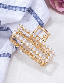 Fashion Rectangle Pearl Metal Geometric Gripper Large