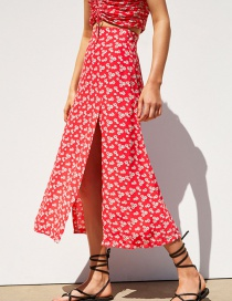 Fashion Red Printed Skirt