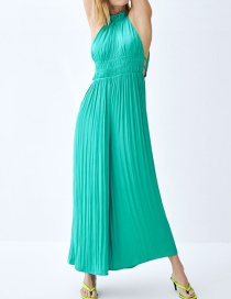 Fashion Green Silk Satin Jumpsuit