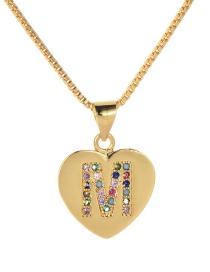 Fashion M Gold Copper Inlaid Zircon Love Letter Necklace
