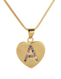 Fashion A Gold Copper Inlaid Zircon Love Letter Necklace