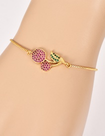 Fashion Gold Copper Inlay Zircon Cherry Bracelet