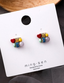 Fashion Color 925 Silver Needle Pearl Love Stitching Color Earrings