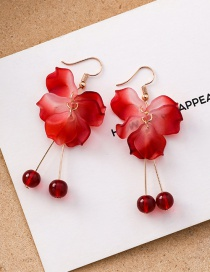Fashion Long Section Multi-layered Petal Red Pearl Stud Earrings