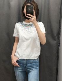 Fashion White Sequined Sweater
