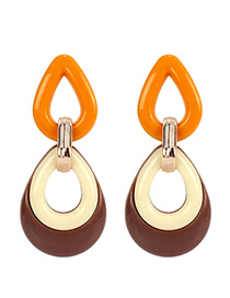 Fashion Brown Contrast Drop Earrings