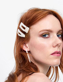 Fashion White Alloy Pearl Diamond Hair Clip Four-piece