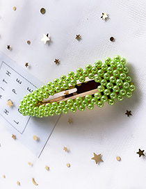 Fashion Green Alloy Resin Triangle Hollow Hair Clip