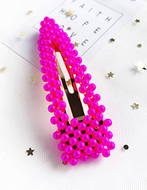 Fashion Red Alloy Resin Triangle Hollow Hair Clip