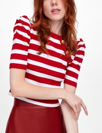 Fashion Red Fluffy Sleeve Striped Top
