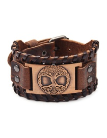 Fashion Ancient Red Copper Life Tree Alloy Wide Leather Bracelet
