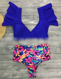 Fashion Blue Top Floral High Waist Ruffled Vest Deep V Bikini