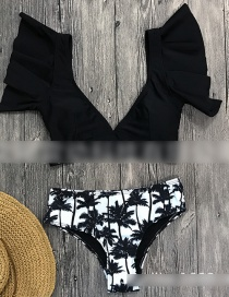 Fashion Black Top Floral High Waist Ruffled Vest Deep V Bikini