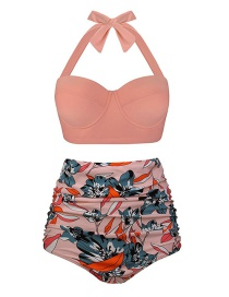 Fashion Orange Pink + Flower Polka-dot High-rise Bikini