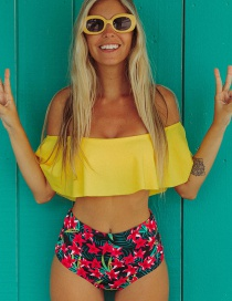 Fashion Yellow Shirt Floral Print One-shoulder Ruffled High Waist Bikini