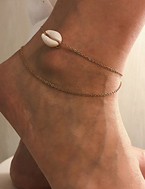 Fashion Gold Natural Shell Multi-layered Anklet