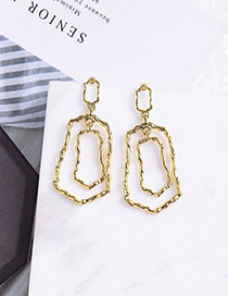 Fashion Gold Geometrically Twisted Irregular Silver Needle Stud Earrings