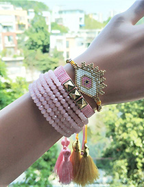 Fashion Pink Suit Rice Beads Woven Bracelet