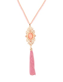 Fashion Pink Crystal-studded Tassel Necklace