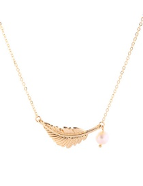 Fashion Gold Leaf Pearl Pendant Necklace