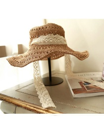 Fashion Khaki Lace Strap With Windproof Foldable Sun Hat