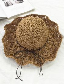 Fashion Light Brown Large Openwork Collapsible Sun Hat