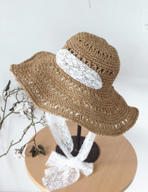 Fashion Khaki Hollow Out Flower Pattern Hat