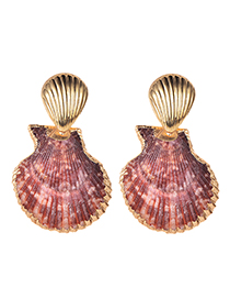 Fashion True Color Alloy Shell Earrings