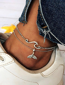 Fashion Silver Fishtail Wave Multi-layer Anklet Two-piece
