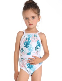 Fashion Children's Blue Print Piece Siamese Parent-child Swimsuit
