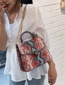 Fashion Pink Crossbody Single Shoulder Stitching Snake Tote