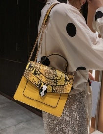 Fashion Yellow Snake Contrast Snake-printed Crossbody Bag