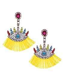 Fashion Yellow Alloy Diamond-set Glasses Tassel Earrings
