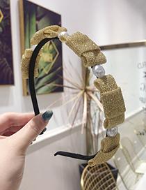 Fashion Gold Bow Bronzing Fabric Fine-brimmed Headband