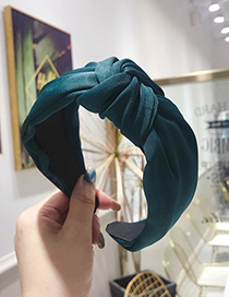 Fashion Dark Green Knotted Headband In The Middle Of The Wide Side