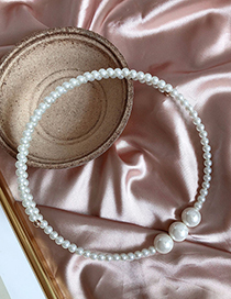 Fashion White Size Pearl Elastic Collar
