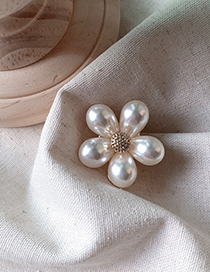 Fashion Pearl Flower Metal Bow Imitation Pearl Flower Brooch