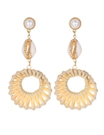 Fashion Gold Alloy Wood Braided Shell Earrings