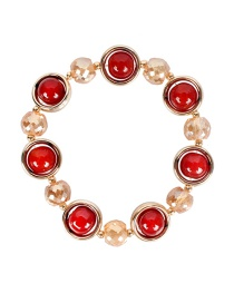 Fashion Agate Red Crystal Agate Alloy Bracelet