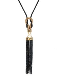 Fashion Black Alloy Plating Tassel Sweater Chain