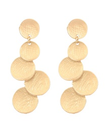 Fashion Gold Textured Metal Texture Leaf Shaped Earrings